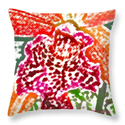 Orchid Throw Pillow featuring the digital art Hawaiian Orchid by James Temple