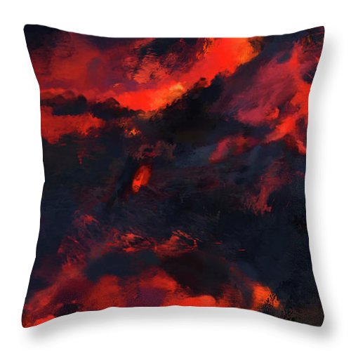 Hawaii Throw Pillow featuring the painting Hawaiian Volcano Lava Flow by Kedoki