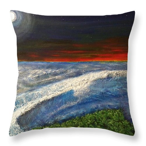 Beaches Throw Pillow featuring the painting Hawiian View by Michael Cuozzo
