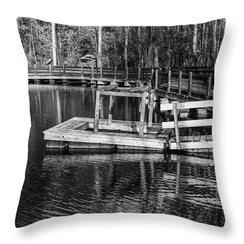 35mm Film Throw Pillow featuring the photograph Hawk Island Michigan Dock by John McGraw