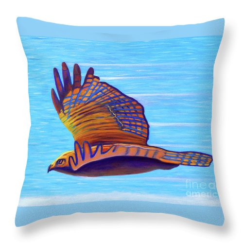 Hawk Throw Pillow featuring the painting Hawk Speed by Brian Commerford