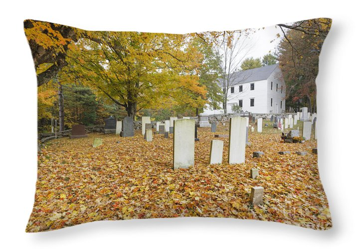 Colonial Meeting House Throw Pillow featuring the photograph Hawke Meetinghouse - Danville New Hampshire by Erin Paul Donovan