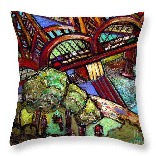 Landscape Throw Pillow featuring the painting Hawthorne Bridge 2 by Angelina Marino