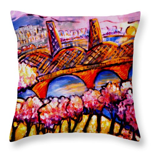 Landscape Throw Pillow featuring the painting Hawthorne Bridge by Angelina Marino