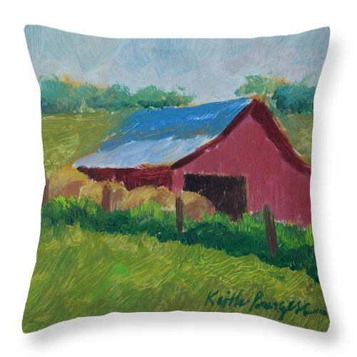 Impressionism Throw Pillow featuring the painting Hay Bales In Morning Light by Keith Burgess