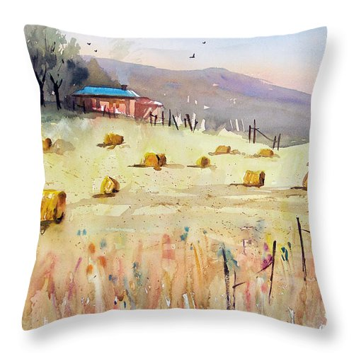 Watercolor Throw Pillow featuring the painting Hay Bales by Ryan Radke