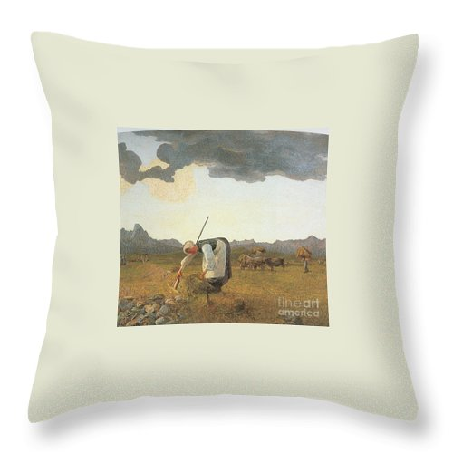 Giovanni Segantini Throw Pillow featuring the painting Hay Harvest by MotionAge Designs