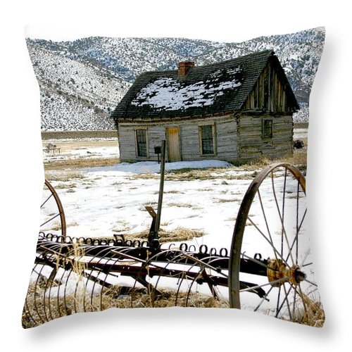 Utah Throw Pillow featuring the photograph Hay Rake At Butch Cassidy by Nelson Strong
