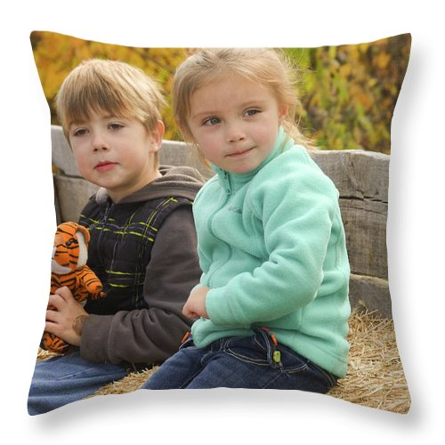 Babies Throw Pillow featuring the photograph Hay Ride by Scott Staley
