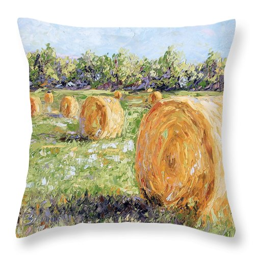 Hay Throw Pillow featuring the painting Hay Rolls by Lewis Bowman