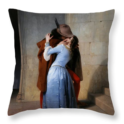 19th Century Throw Pillow featuring the painting Hayez, The Kiss by Granger
