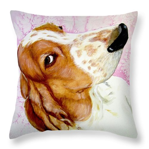 Basset Hound Throw Pillow featuring the painting Hazel 2017 by Carol Blackhurst