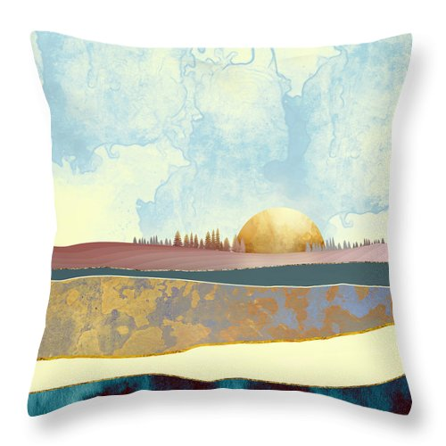 Abstract Throw Pillow featuring the digital art Hazy Afternoon by Katherine Smit