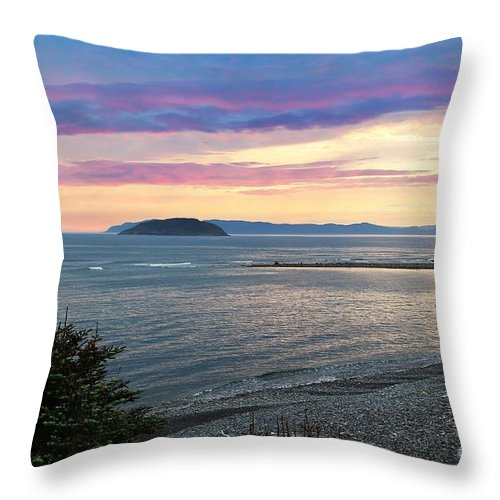 Barbara Griffin Throw Pillow featuring the photograph Hazy Evening Sunset by Barbara Griffin