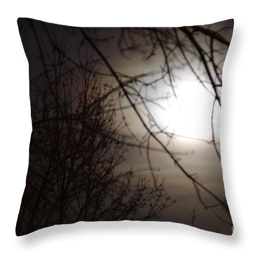 Moon Throw Pillow featuring the photograph Hazy Moon Through The Trees by Brandi Christon