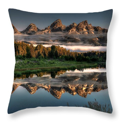 Schwabacher Landing Throw Pillow featuring the photograph Hazy Reflections At Scwabacher Landing by Ryan Smith