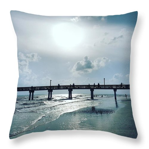 Water Throw Pillow featuring the photograph Hazy Sun Down by Ric Schafer