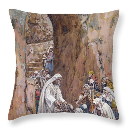 Did Throw Pillow featuring the painting He Did No Miracles Save That He Healed Them by Tissot