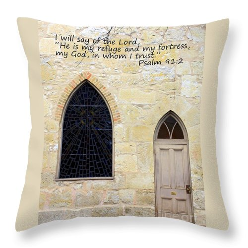 Spiritual Throw Pillow featuring the photograph He Is My Refuge by Carol Groenen