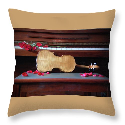 Violin Throw Pillow featuring the photograph Love And Music by Jacqueline Dickens