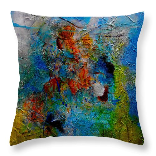 ruth Palmer Abstract Christian Contemporary Color Faith Religion Bible God Jesus Spiritual Texture Throw Pillow featuring the painting He Loves Us Inspite Of Ourselves by Ruth Palmer