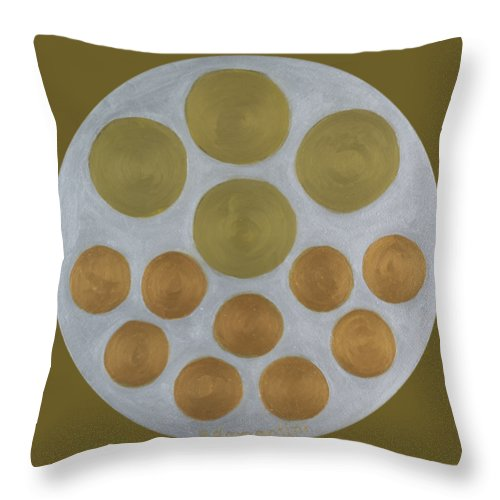He Tu Throw Pillow featuring the painting He Tu Metal Round by Adamantini Feng shui