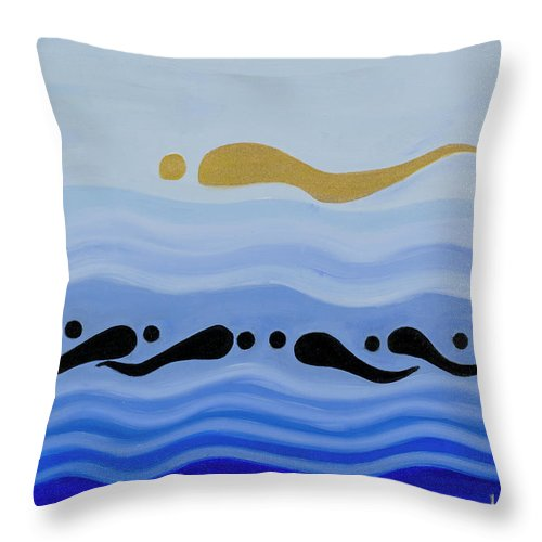 He Tu Water Throw Pillow featuring the painting He Tu Water by Adamantini