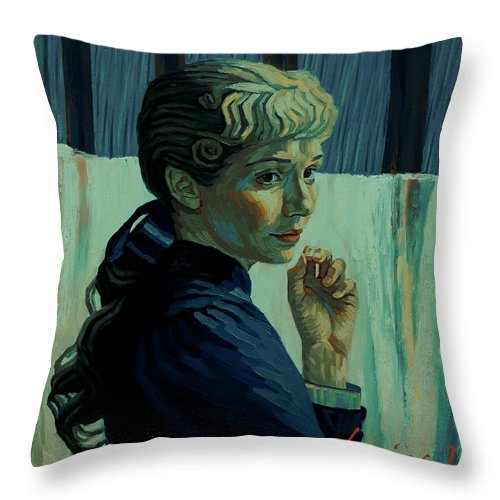 Throw Pillow featuring the painting He Was Happy Here by Maryna Savchenko