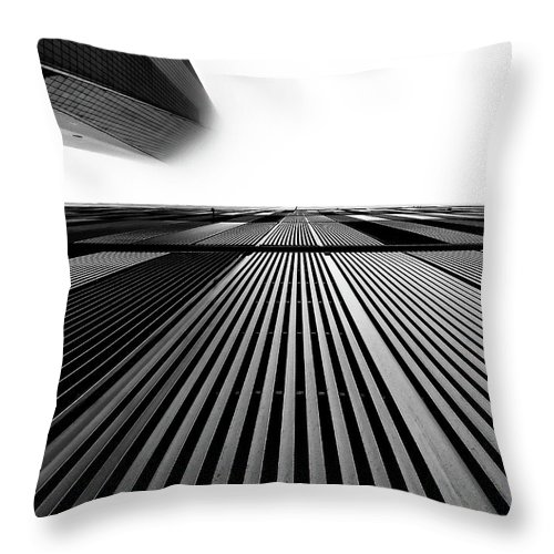 Black And White Throw Pillow featuring the photograph Head In The Clouds 1 by Rand