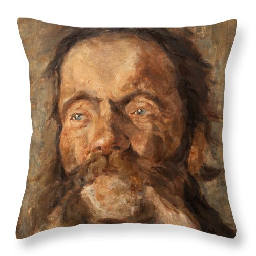Portrait Throw Pillow featuring the painting Head Of An Old Man by Darko Topalski