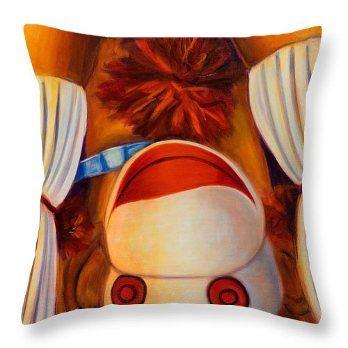 Children Throw Pillow featuring the painting Head-over-heels by Shannon Grissom