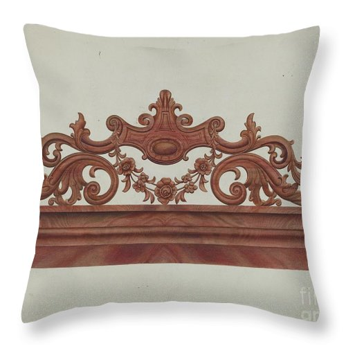 Throw Pillow featuring the drawing Headboard by Gordon Saltar