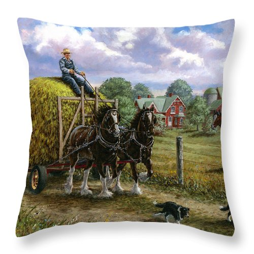 Farm Throw Pillow featuring the painting Heading For The Loft by Richard De Wolfe