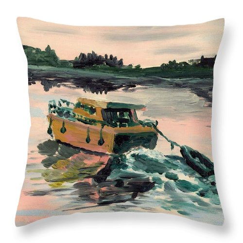 Boat Throw Pillow featuring the painting Heading Home by Alan Hogan