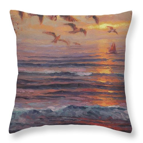 Coast Throw Pillow featuring the painting Heading Home by Steve Henderson