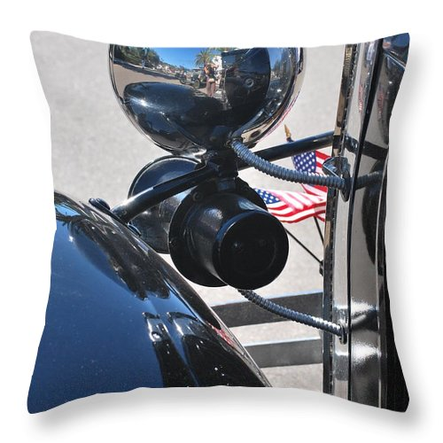 Throw Pillow featuring the photograph Headlamp And Flags by Heather Kirk