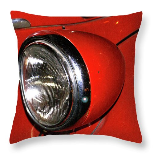 Headlamp Throw Pillow featuring the photograph Headlamp On Red Firetruck by Douglas Barnett