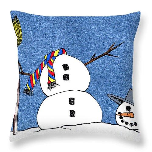 Snowman Throw Pillow featuring the digital art Headless Snowman by Nancy Mueller