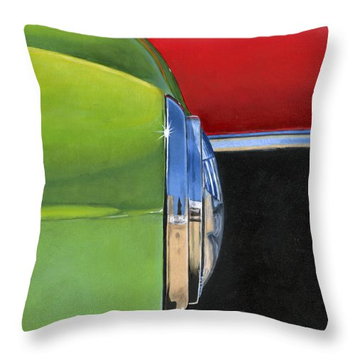 Car Throw Pillow featuring the painting Headlight by Rob De Vries