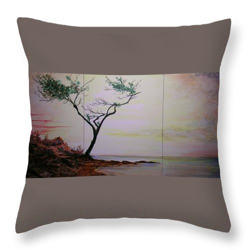 Sunrise Throw Pillow featuring the painting Health Wealth And Benevolence by Lizzy Forrester