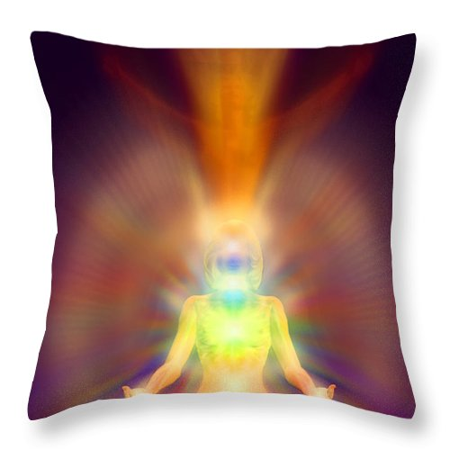 Healthy Aura Throw Pillow featuring the painting Healthy Aura by Robby Donaghey