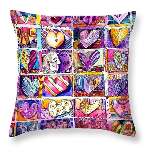 Love Throw Pillow featuring the painting Heart 2 Heart by Mindy Newman
