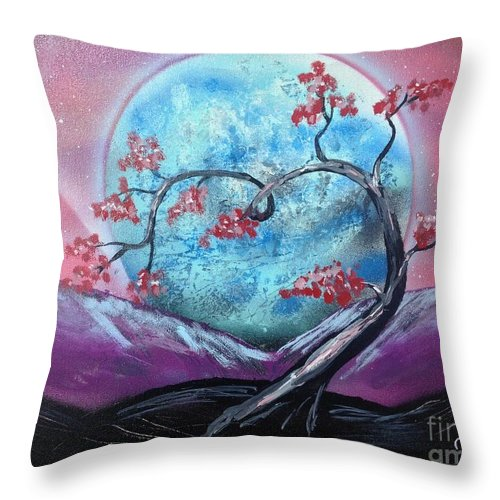 Moon Throw Pillow featuring the painting Heart Blossom by Tyler Haddox