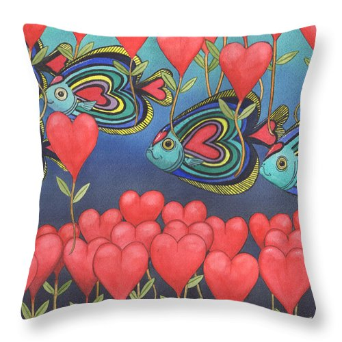 Valentine Throw Pillow featuring the painting Heart fish by Catherine G McElroy
