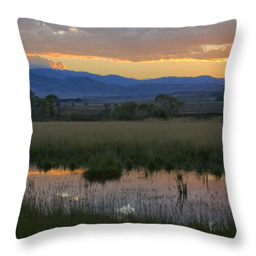 Canal Throw Pillow featuring the photograph Heart Mountain Sunset by Idaho Scenic Images Linda Lantzy