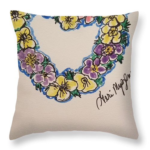Heart Throw Pillow featuring the drawing Heart Of Flowers by Geraldine Myszenski