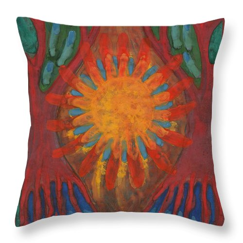 Colour Throw Pillow featuring the painting Heart Of Forest by Wojtek Kowalski