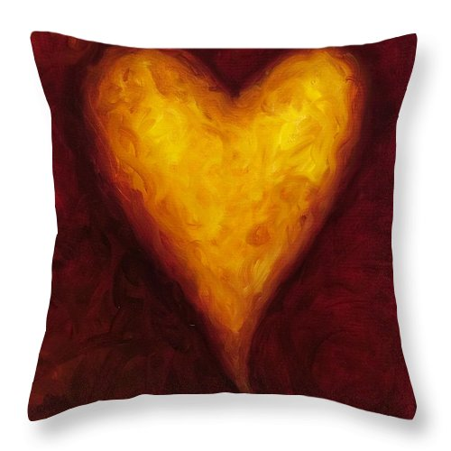 Heart Throw Pillow featuring the painting Heart Of Gold 1 by Shannon Grissom