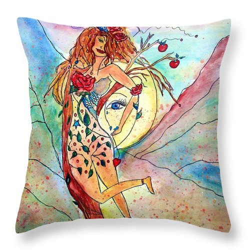 Female Figure Throw Pillow featuring the painting Heart Of Her World by Robin Monroe