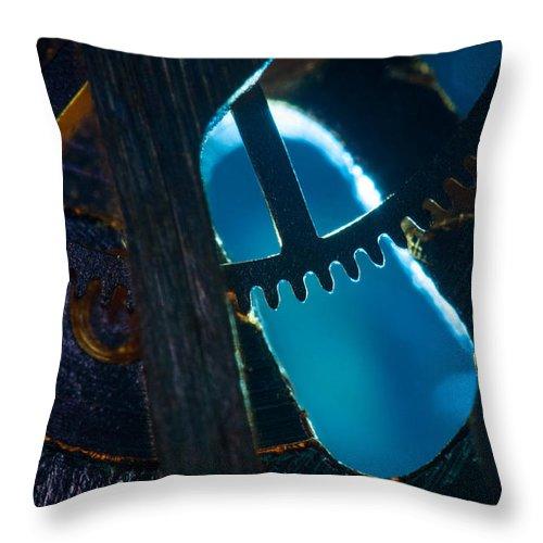 Macro Throw Pillow featuring the photograph Heart Of The Machine - Blue by Matt Hicks